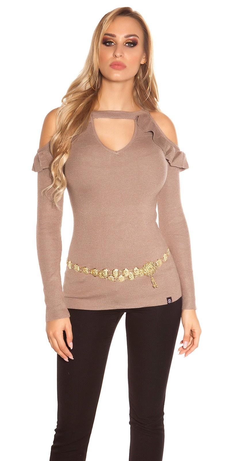 Sexy blote schouder v-hals sweater-trui met volant cappuccino