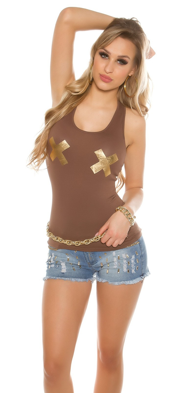 Sexy Tanktop with golden X-Print Cappuccino