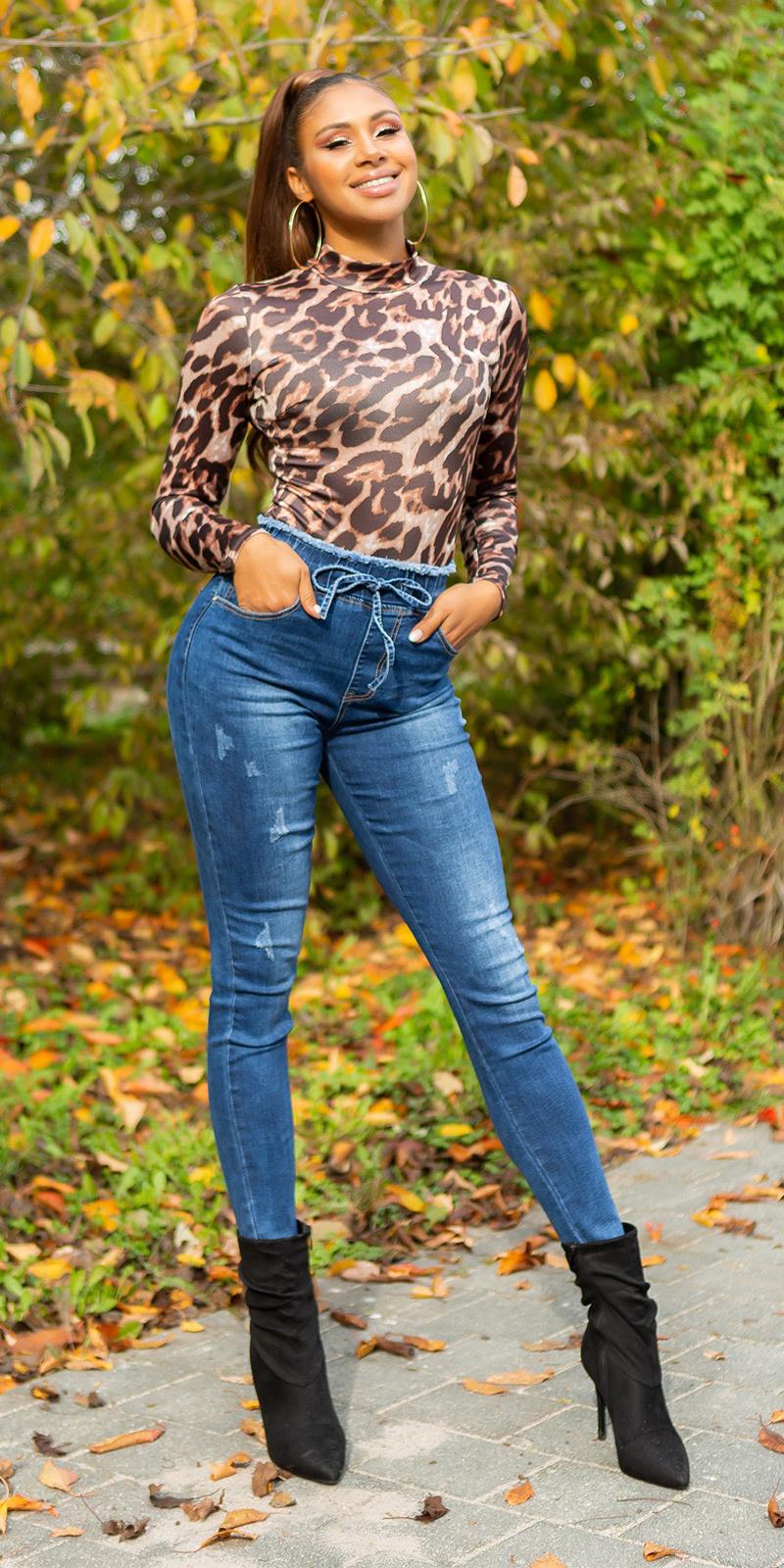 Trendy casual drawstring jeans blauw