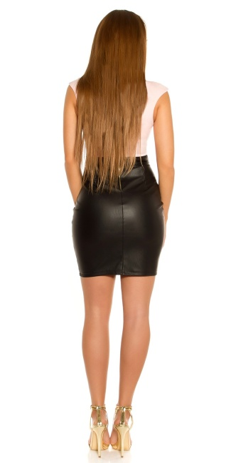 Sexy Koucla shift dress with leather look skirt Pink