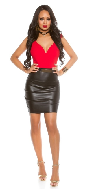 Sexy Koucla shift dress with leather look skirt Red
