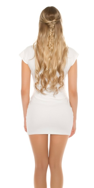 Sexy shortsleeve basic longshirt/minidress&lacing White
