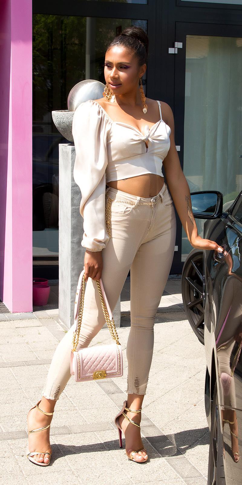 Sexy hoge taille gebruikte used look jeans beige