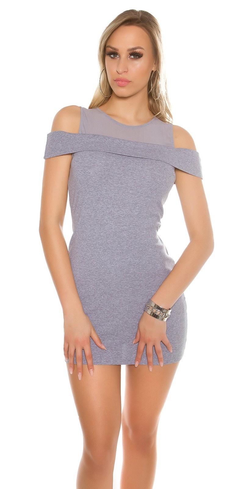 Sexy open schouders-mini jurkje met gaasstof grijs