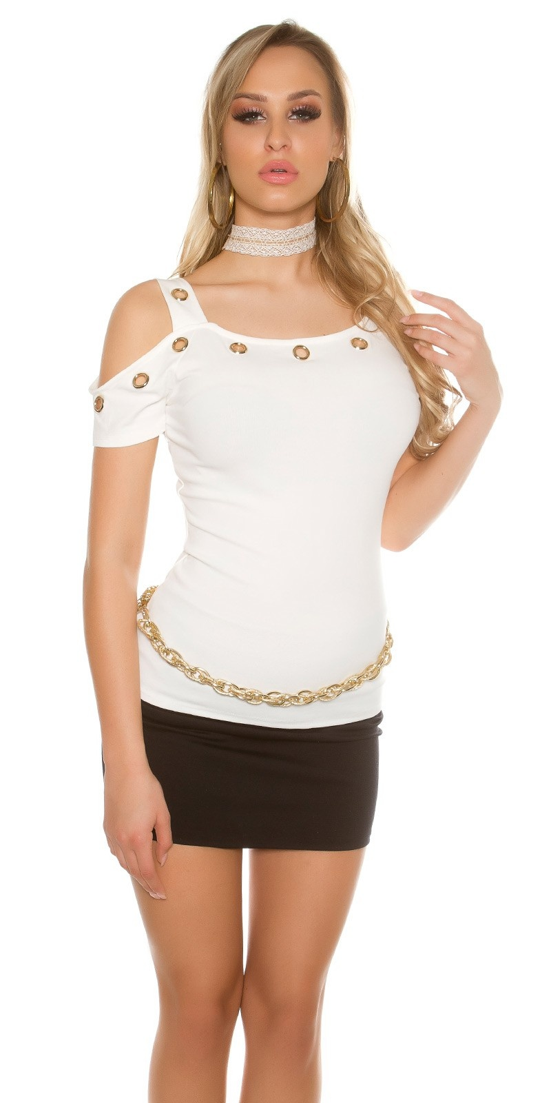 Sexy Cold Shoulder T-Shirt with eyelets White