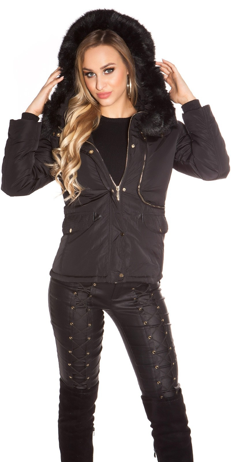 Trendy winter jacket lined, waisted with hood Black