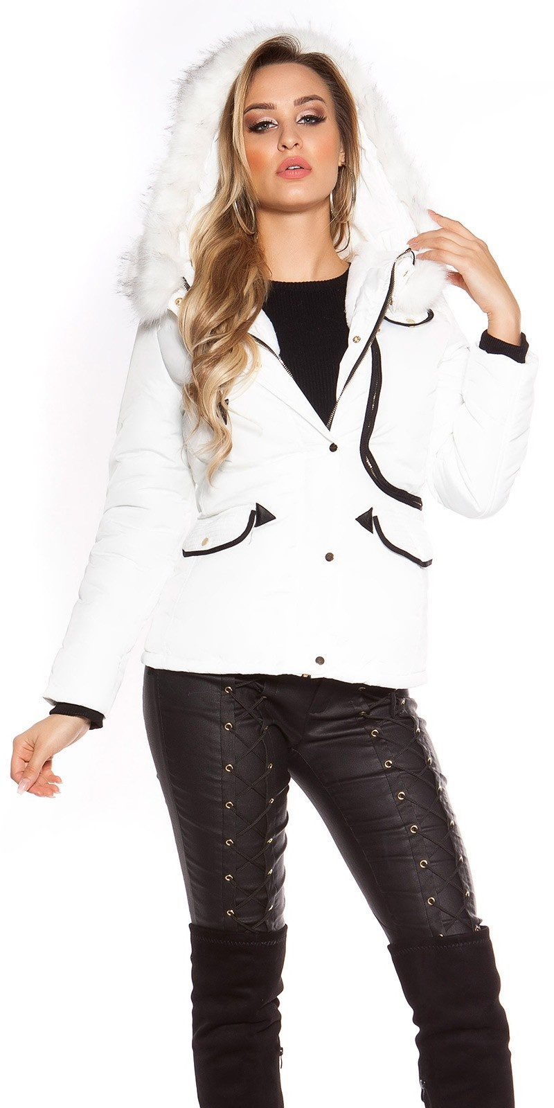 Trendy winter jacket lined, waisted with hood White