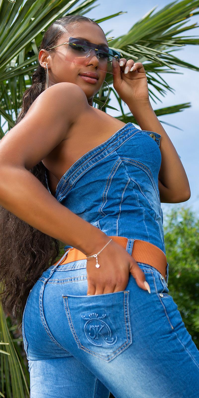 Sexy off-shoulder denim-spijkerstof overall met riem blauw