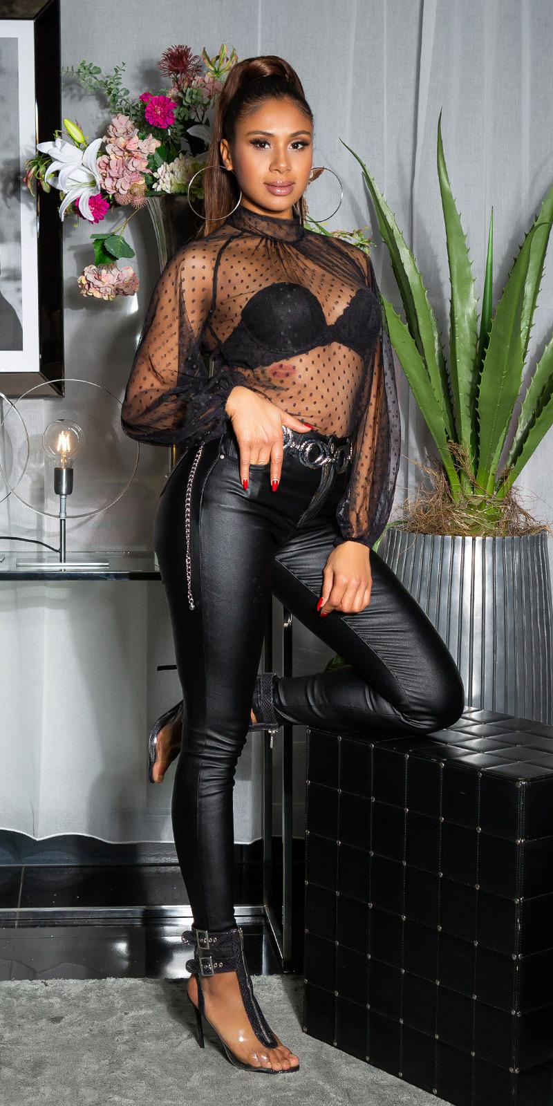 Sexy skinny leder look fashion jeans zwart