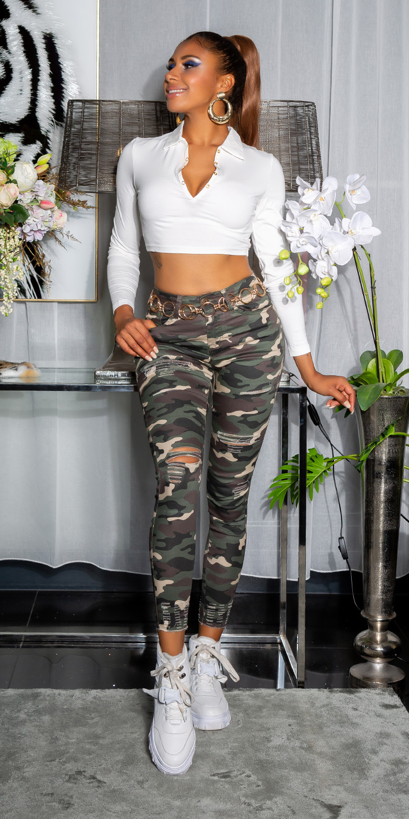 Sexy skinny camouflage jeans camouflage