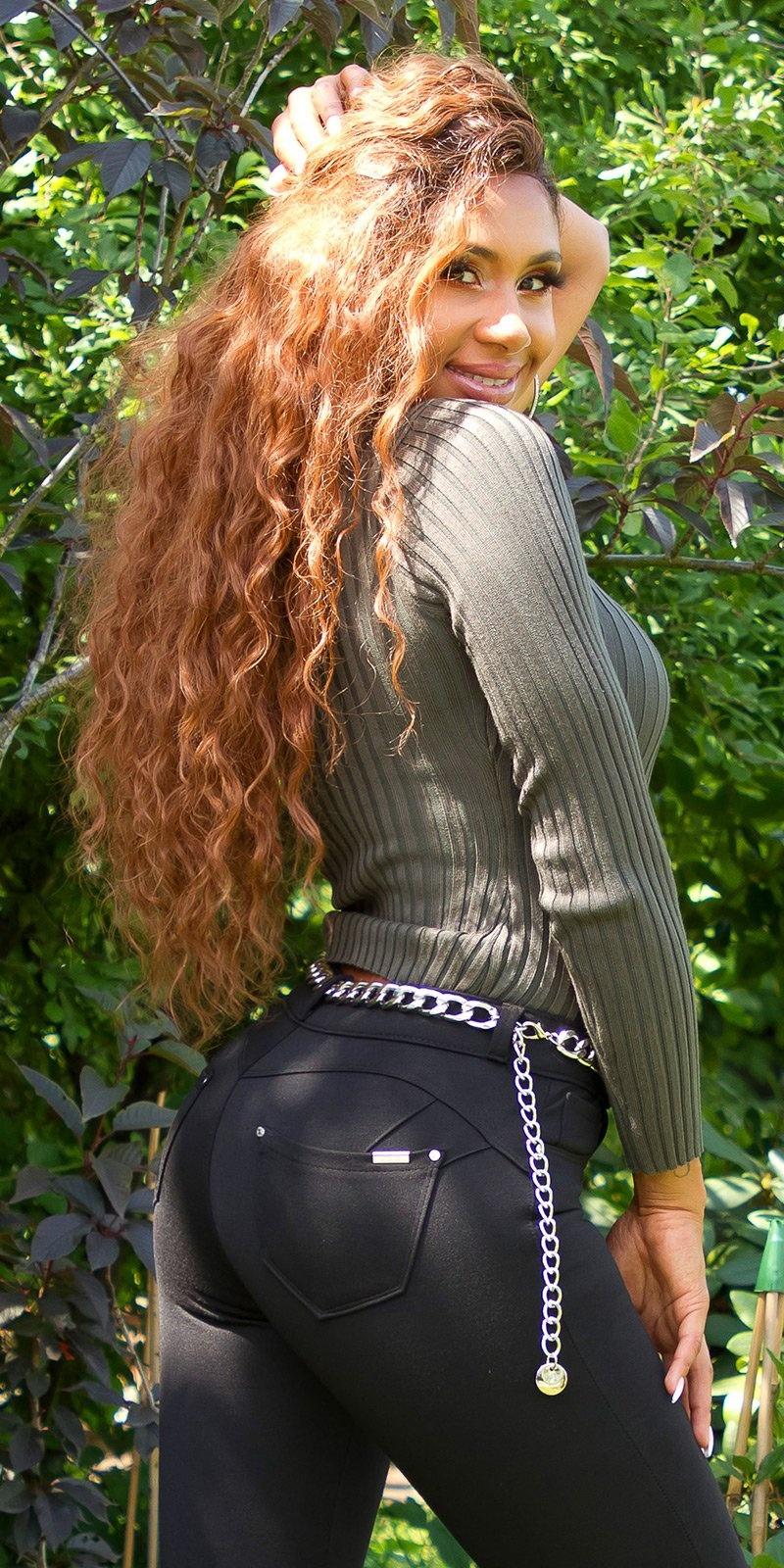 Sexy push up hight taille basic broek zwart