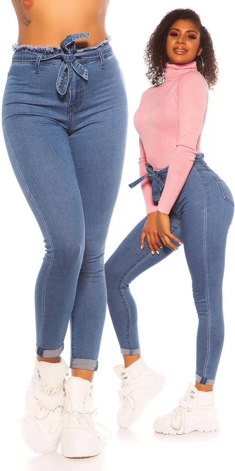 Sexy skinny hoge taille jeans met elastiek band jeansblue