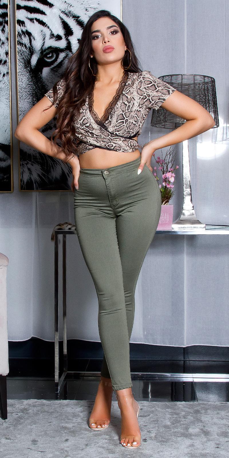 Sexy hoge taille skinny jeans khaki