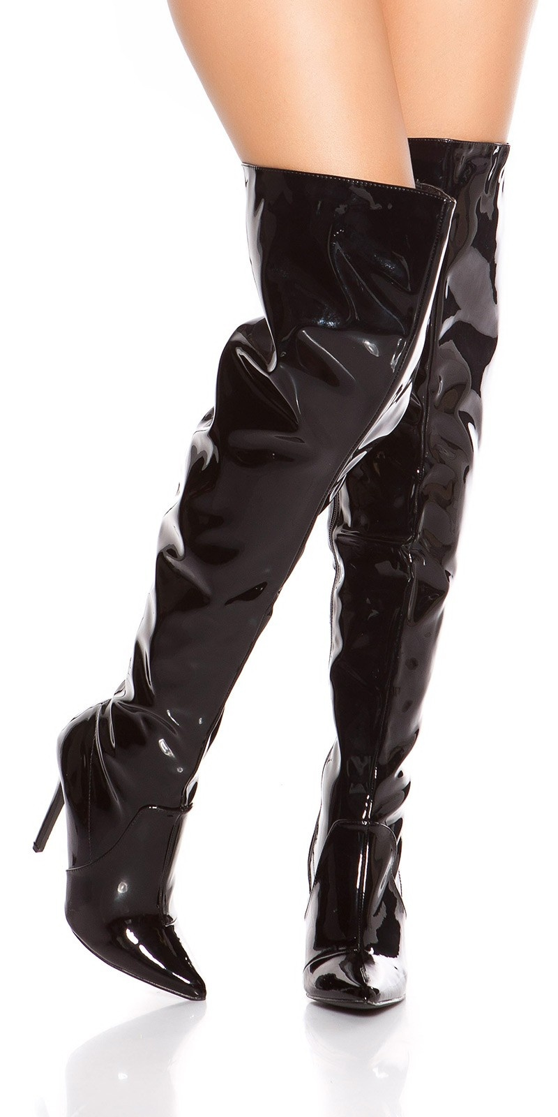 Sexy high heel overknees polish - metallic look Black