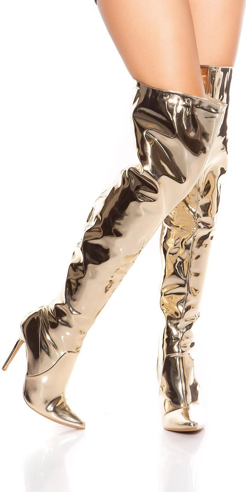 Sexy high heel overknees polish / metallic look Gold