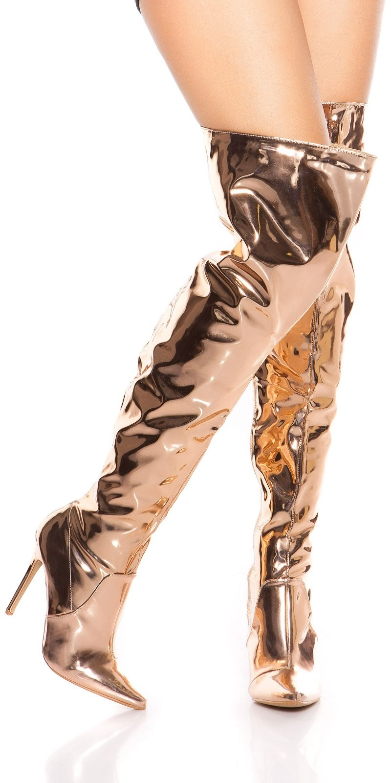 Sexy hoge hak overknee laarzen metallic look rose