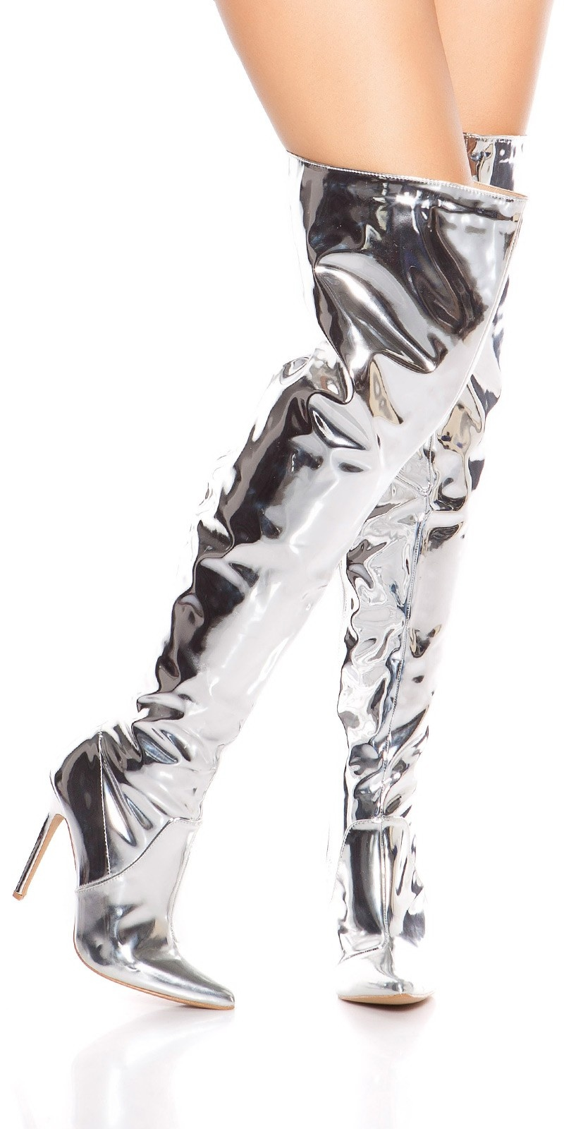 Sexy high heel overknees polish - metallic look Silver