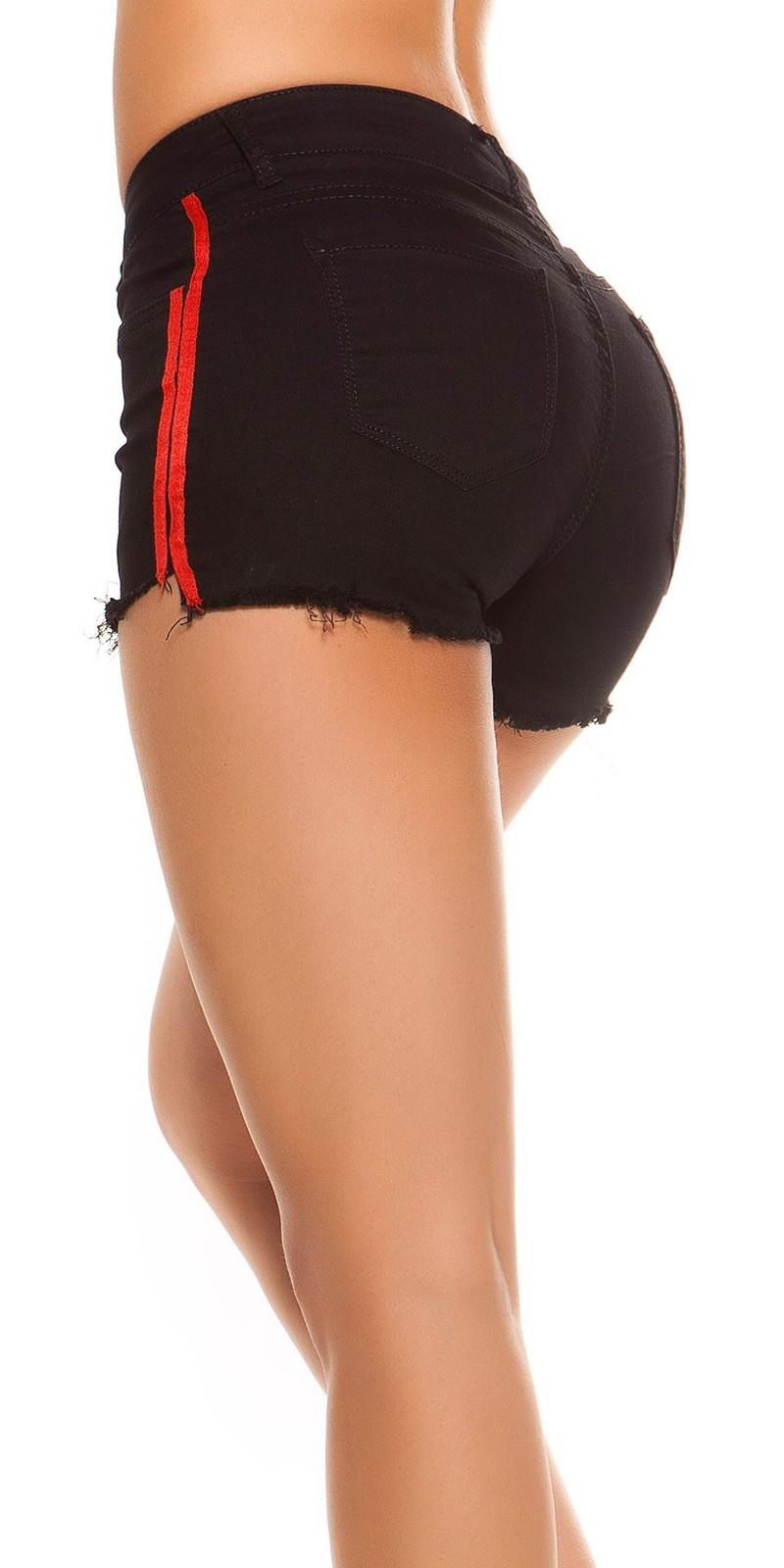 Sexy denim shorts with stripes Black