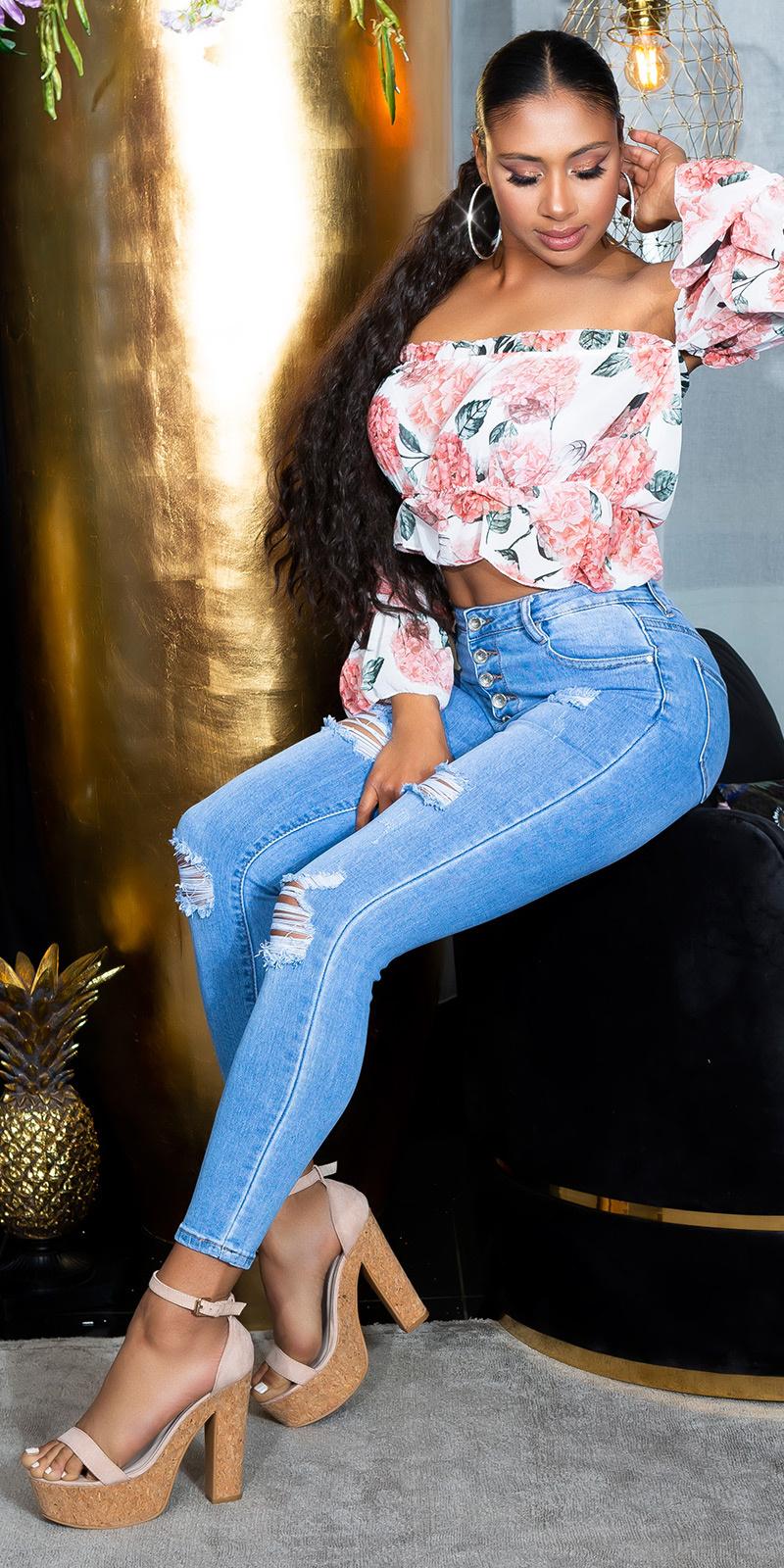 Sexy hoge taille jeans met knopen blauw