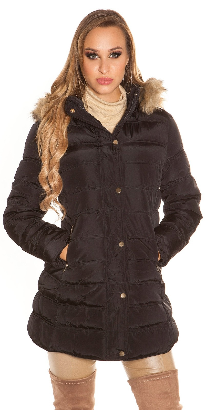 Trendy quilted winter coat with hood Black