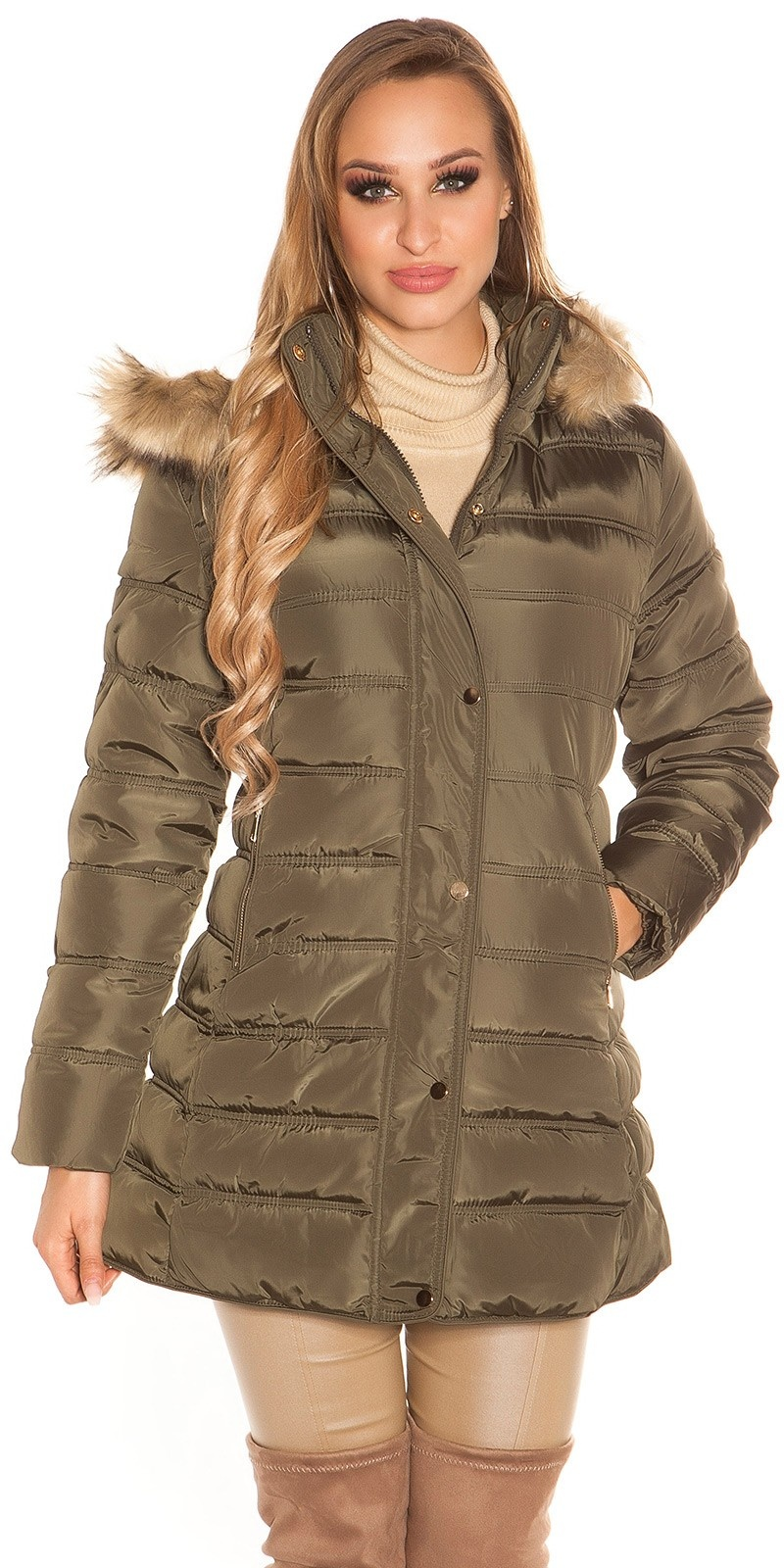 Trendy quilted winter coat with hood Khaki