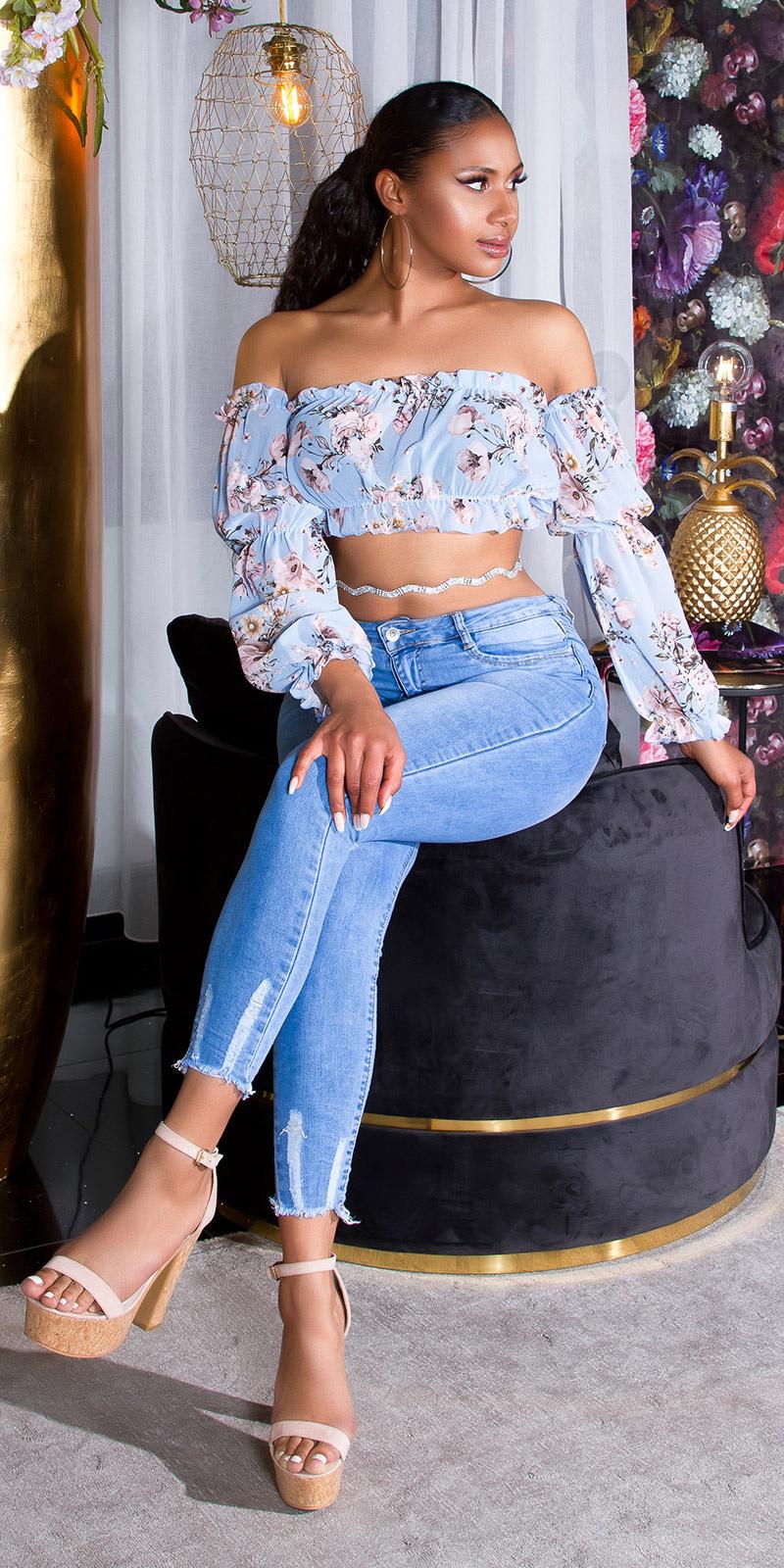 Sexy skinny fit jeans met geribde naad blauw