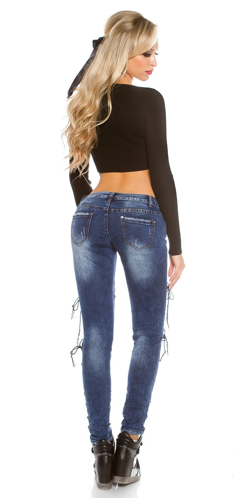 Sexy skinny jeans met sexy veter jeansblauw
