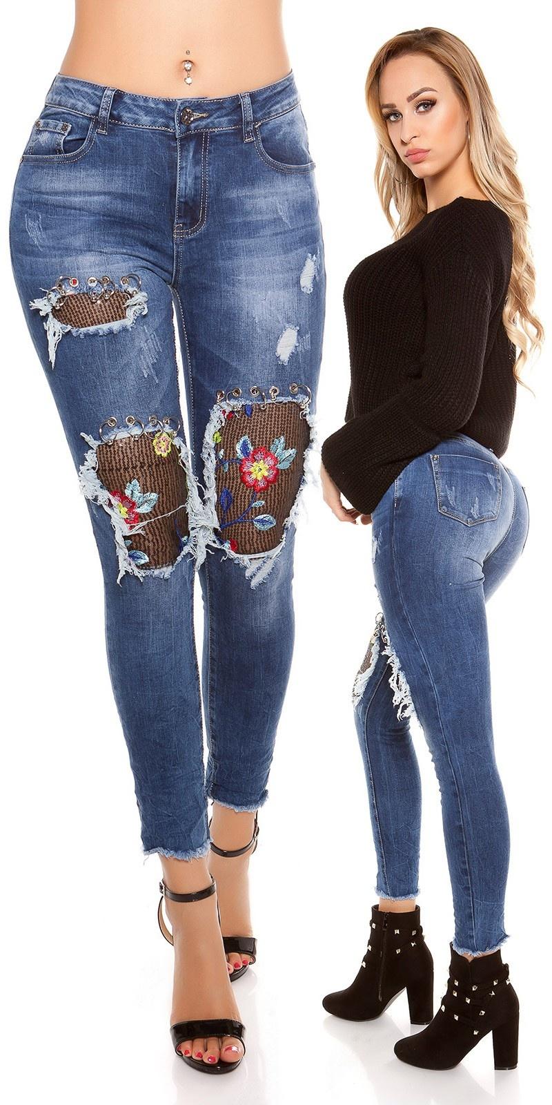Sexy skinny jeans used met bloemen borduurwerk & piercing jeansblauw