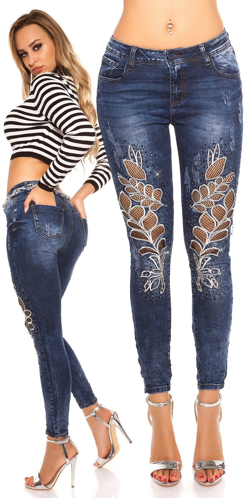 Sexy Skinny Jeans with Net, Embroidery & Stones Jeansblue