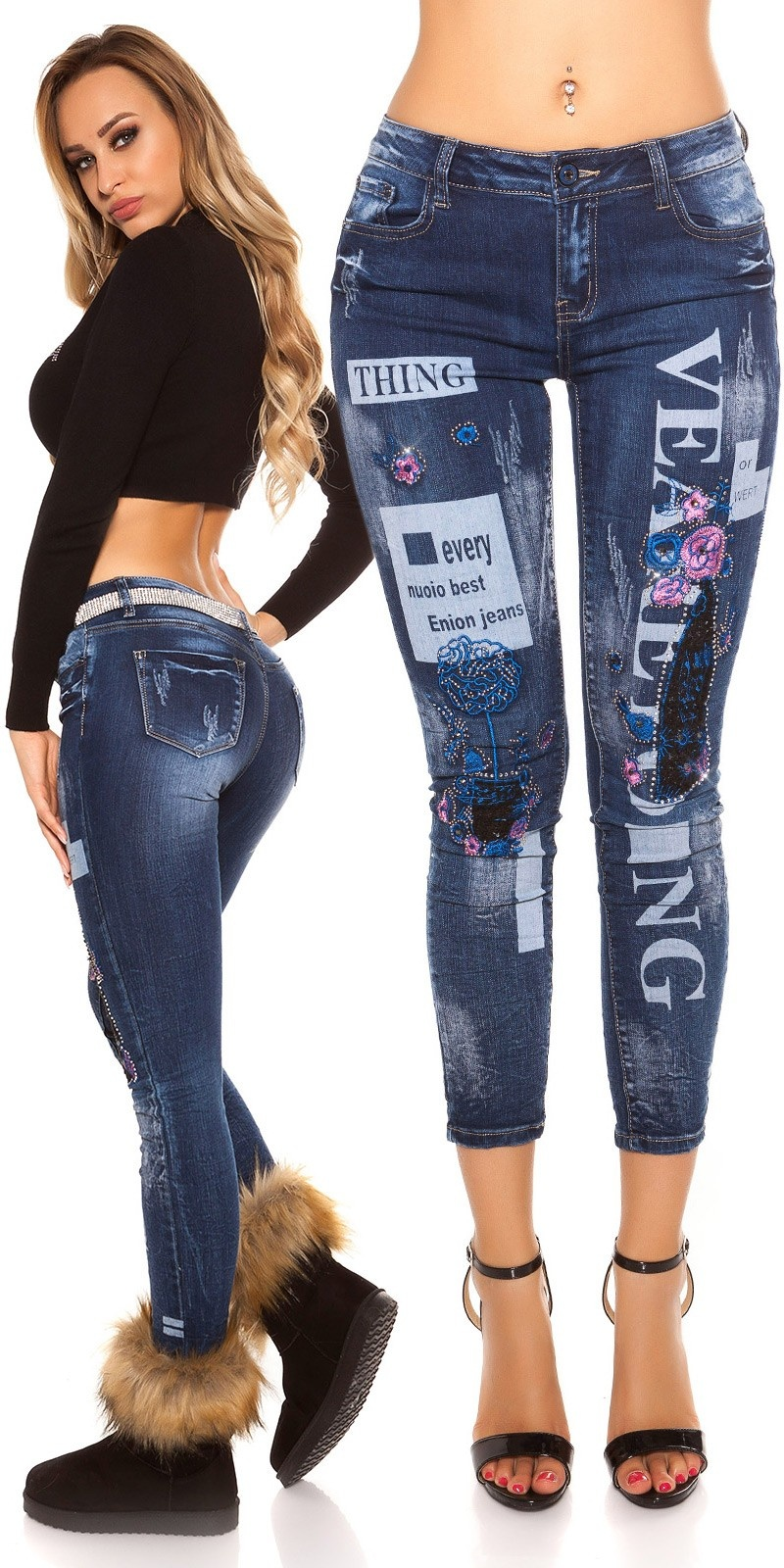 Sexy skinny Jeans used w Prints&flower embroidery Jeansblue