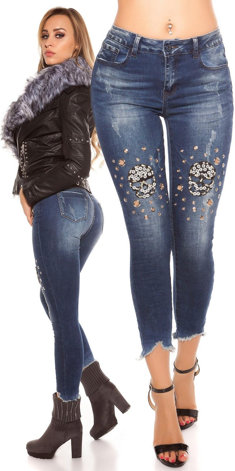 Sexy 7/8 skinny jeans gebruikte used look met studs & skelet jeansblauw
