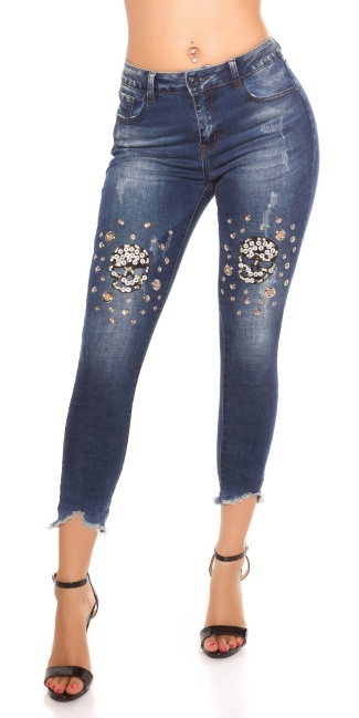 Sexy 7 8 Skinny Jeans Used Look With Studs Skull Jeansblue