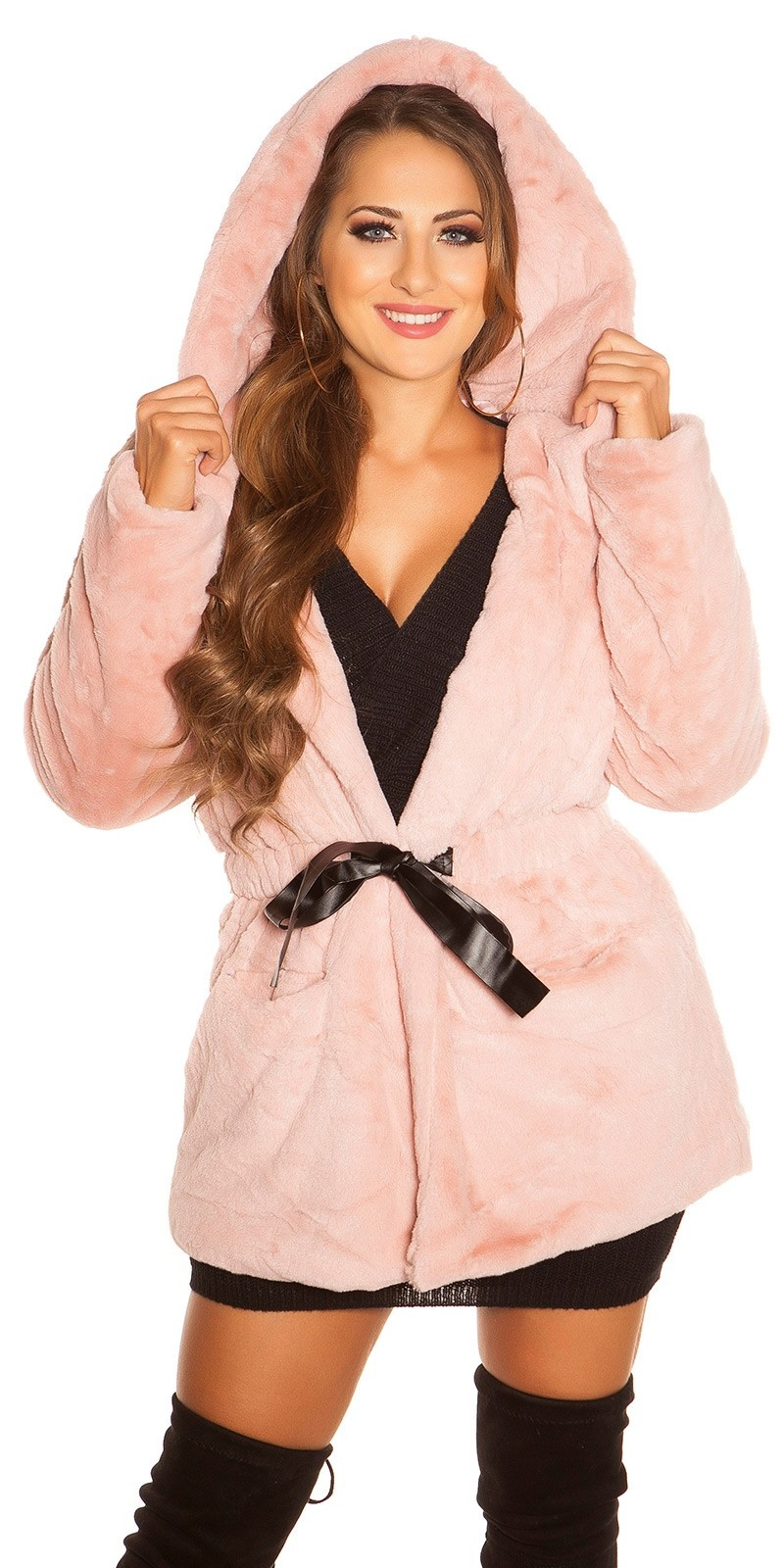 Trendy fake fur jacket with hood for tying Antiquepink