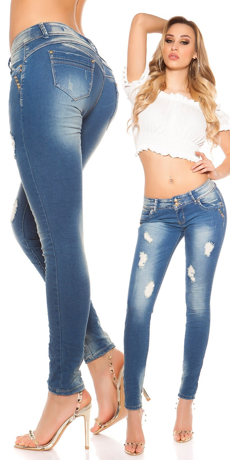 Sexy lowcut Skinny-Jeans in used-look Jeansblue