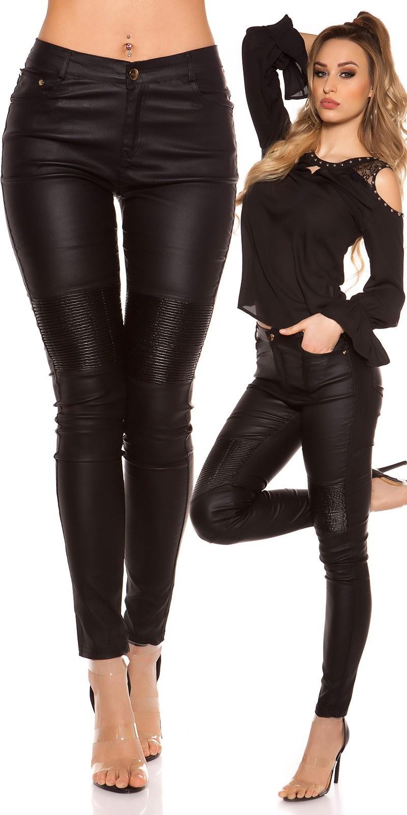 Sexy skinny lederlook broek zwart