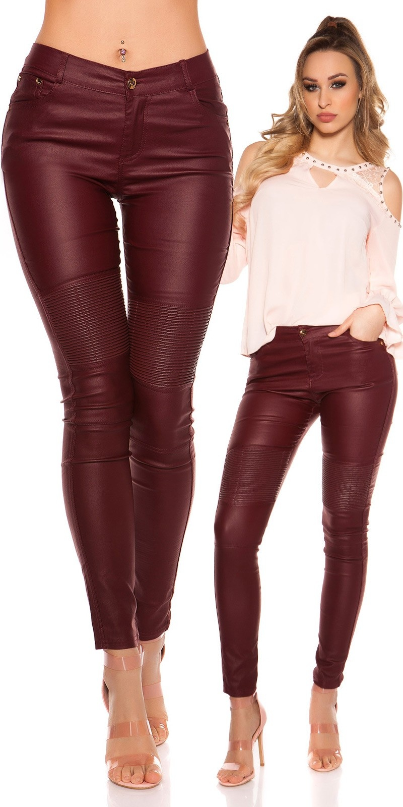 Sexy skinny Leatherlook pants Bordeaux