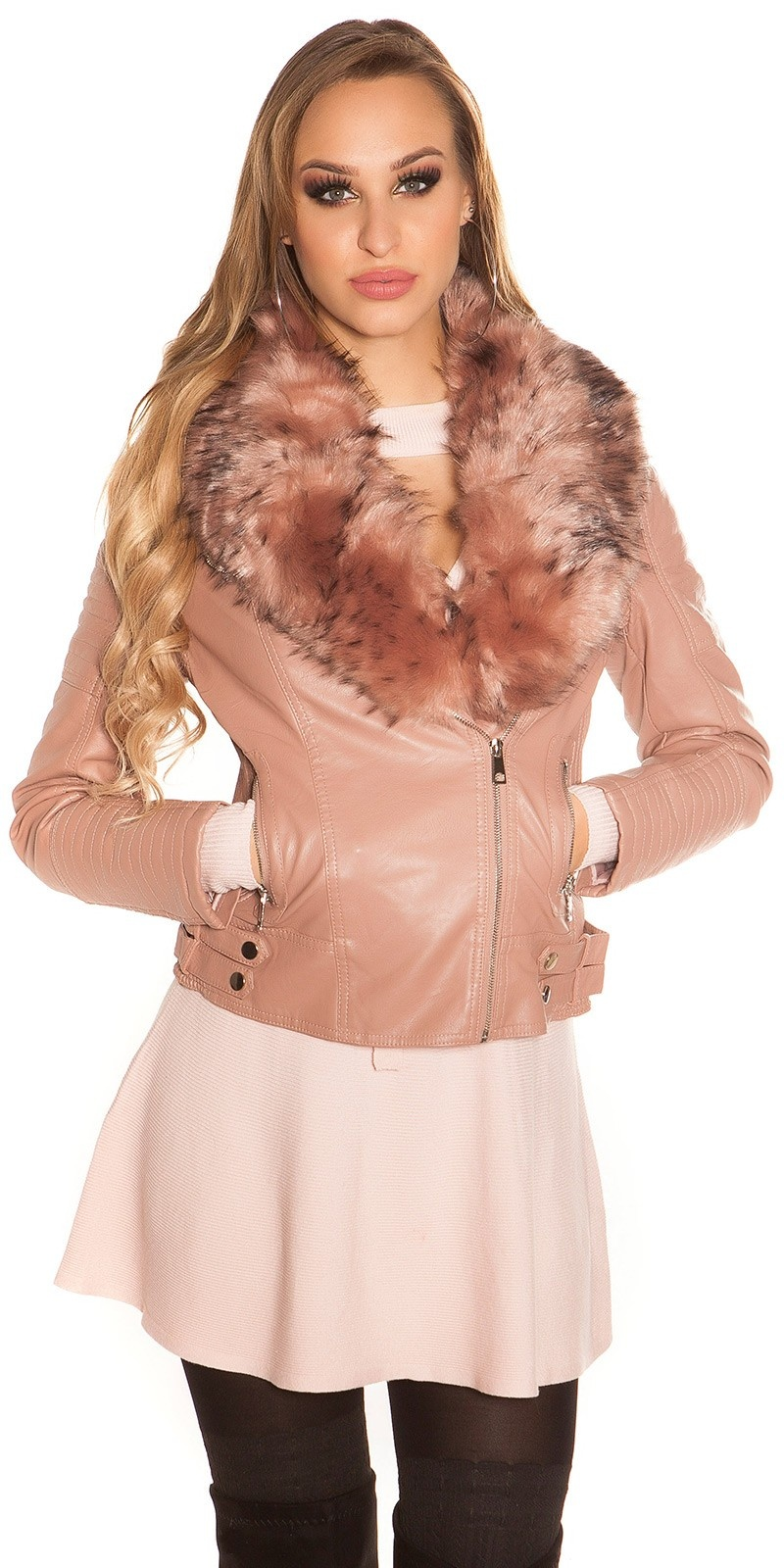 Trendy biker look jacket in leather look lined Antiquepink