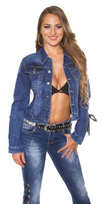 Sexy jeans jacket with lacing Jeansblue