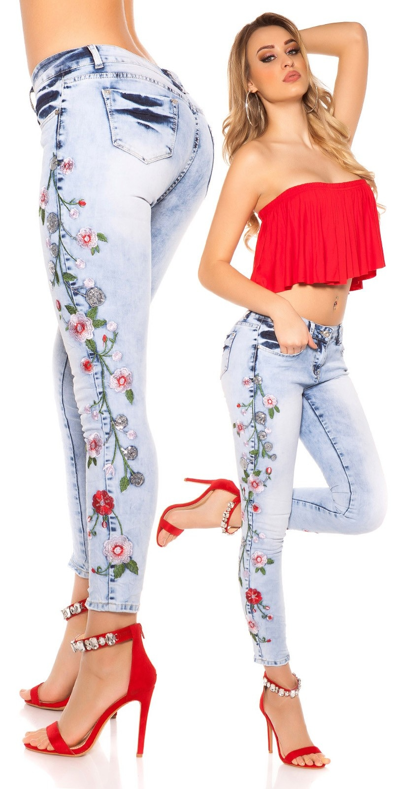 Sexy skinny Jeans with flower embroidery Jeansblue