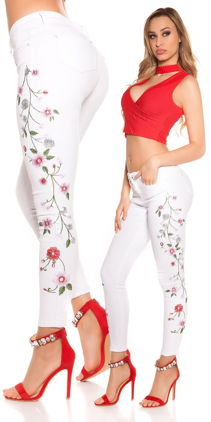 Sexy skinny Jeans with flower embroidery White