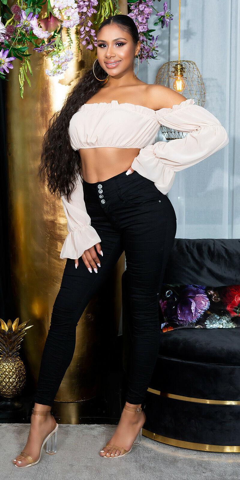 Sexy hoge taille jeans met knopen zwart