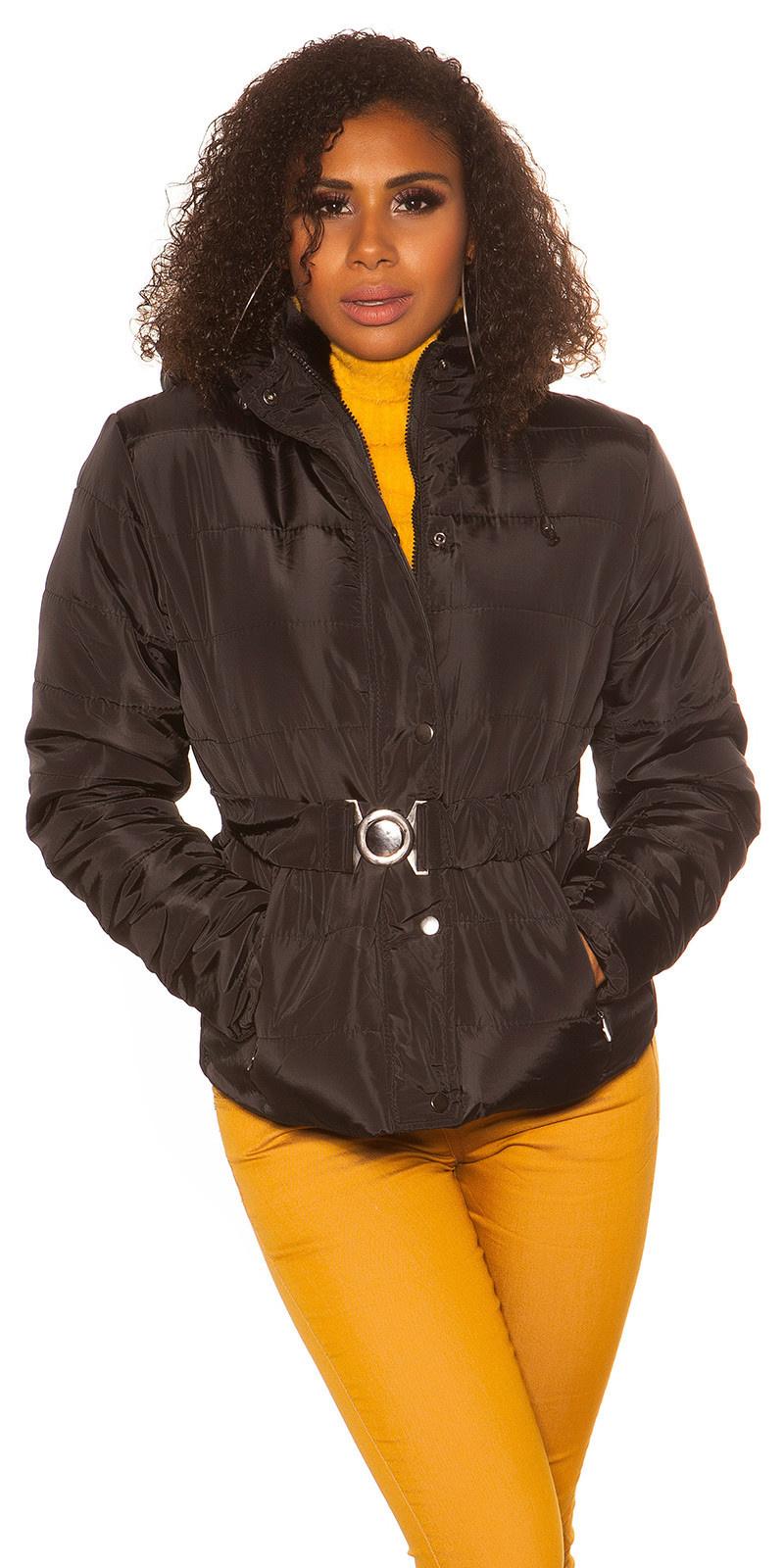Trendy winterjas met riem zwart