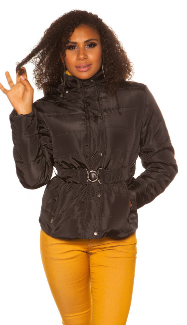 Trendy Winter jacket with belt Black