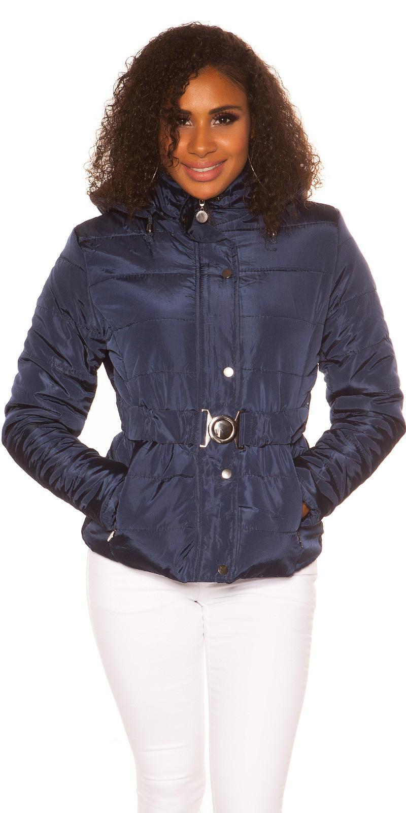 Trendy winterjas met riem marine blauw