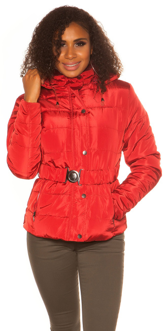 Trendy Winter jacket with belt Red