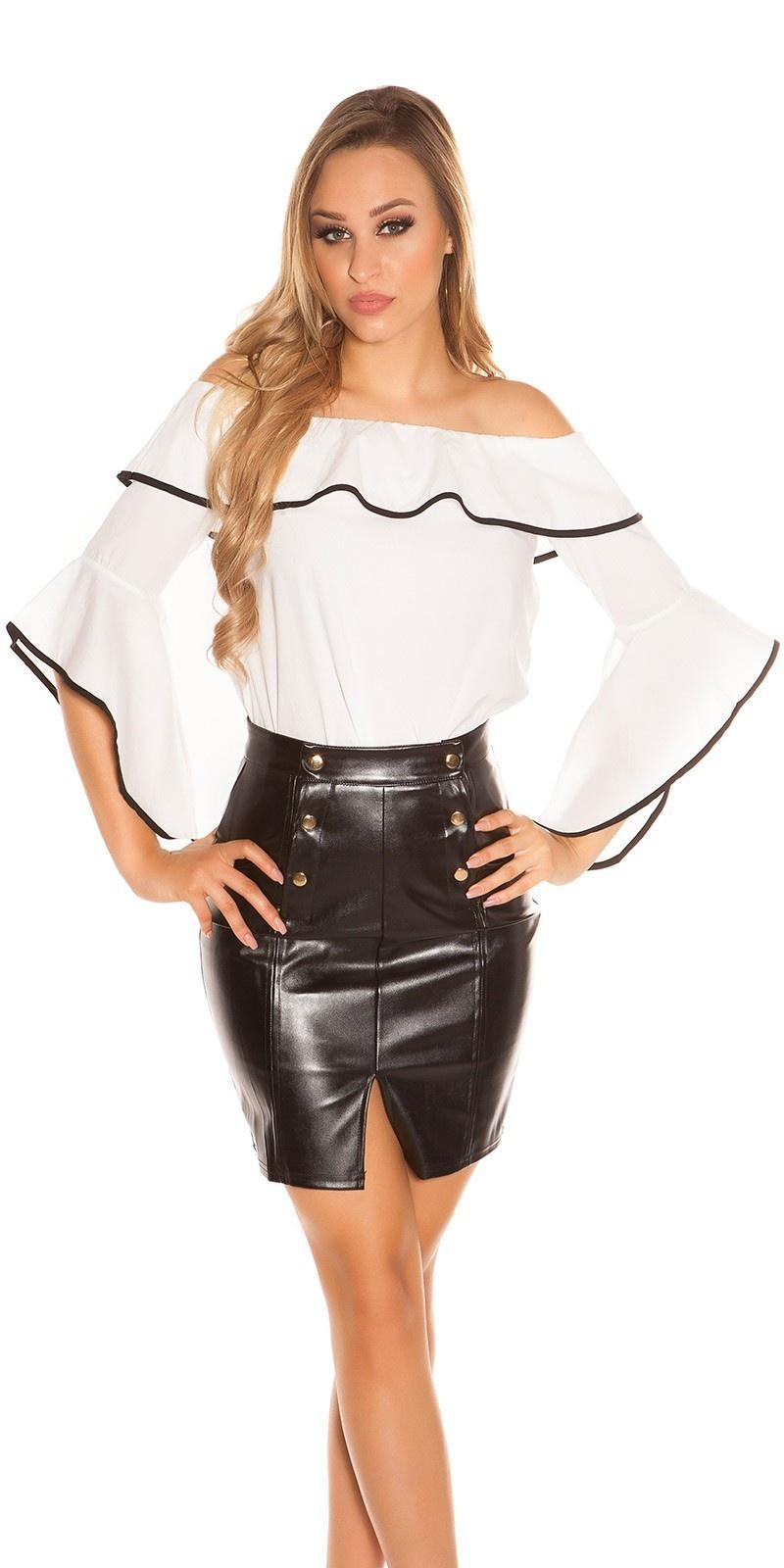 Sexy carmen blouse met volant wit
