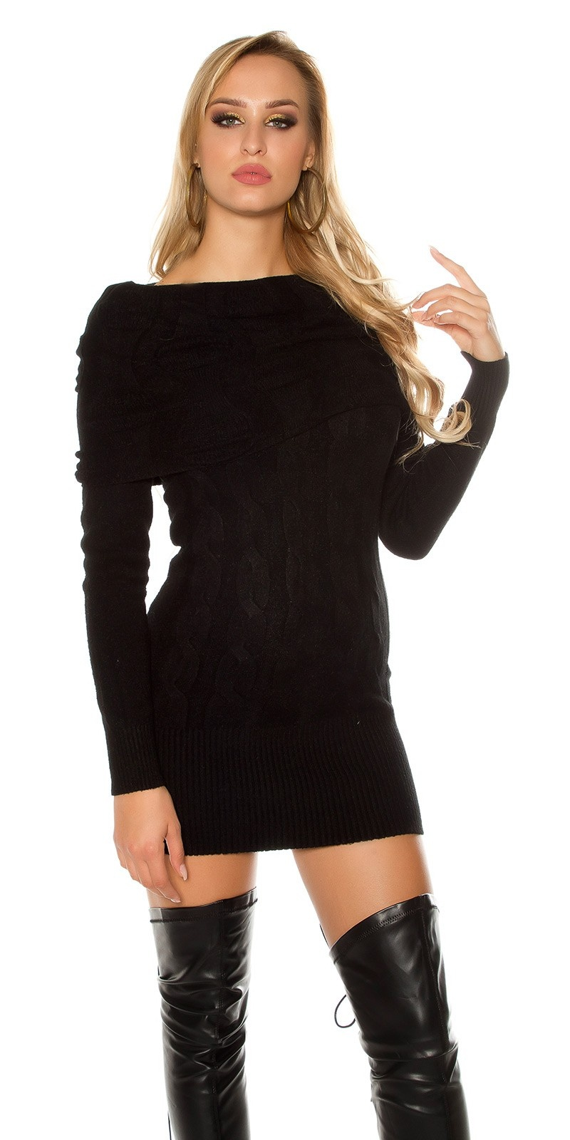 Sexy knit mini dress with Carmen neckline Black