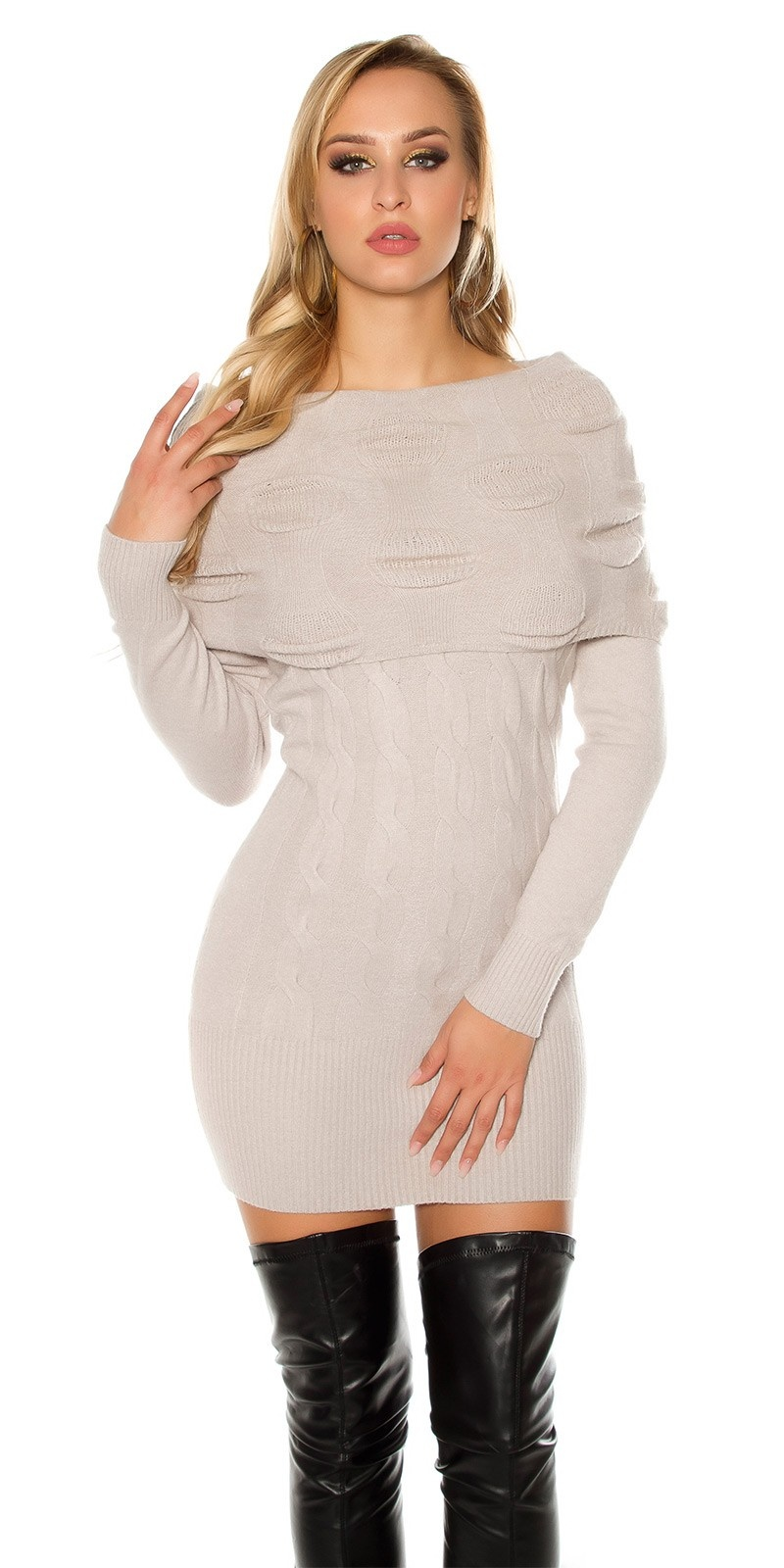 Sexy knit mini dress with Carmen neckline Lightgrey