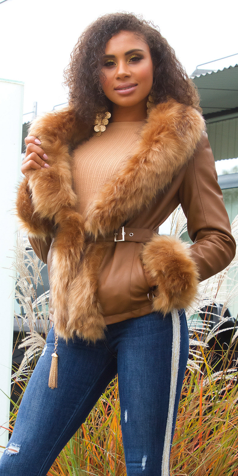 Sexy leatherlook jacket lined with fake fur Brown