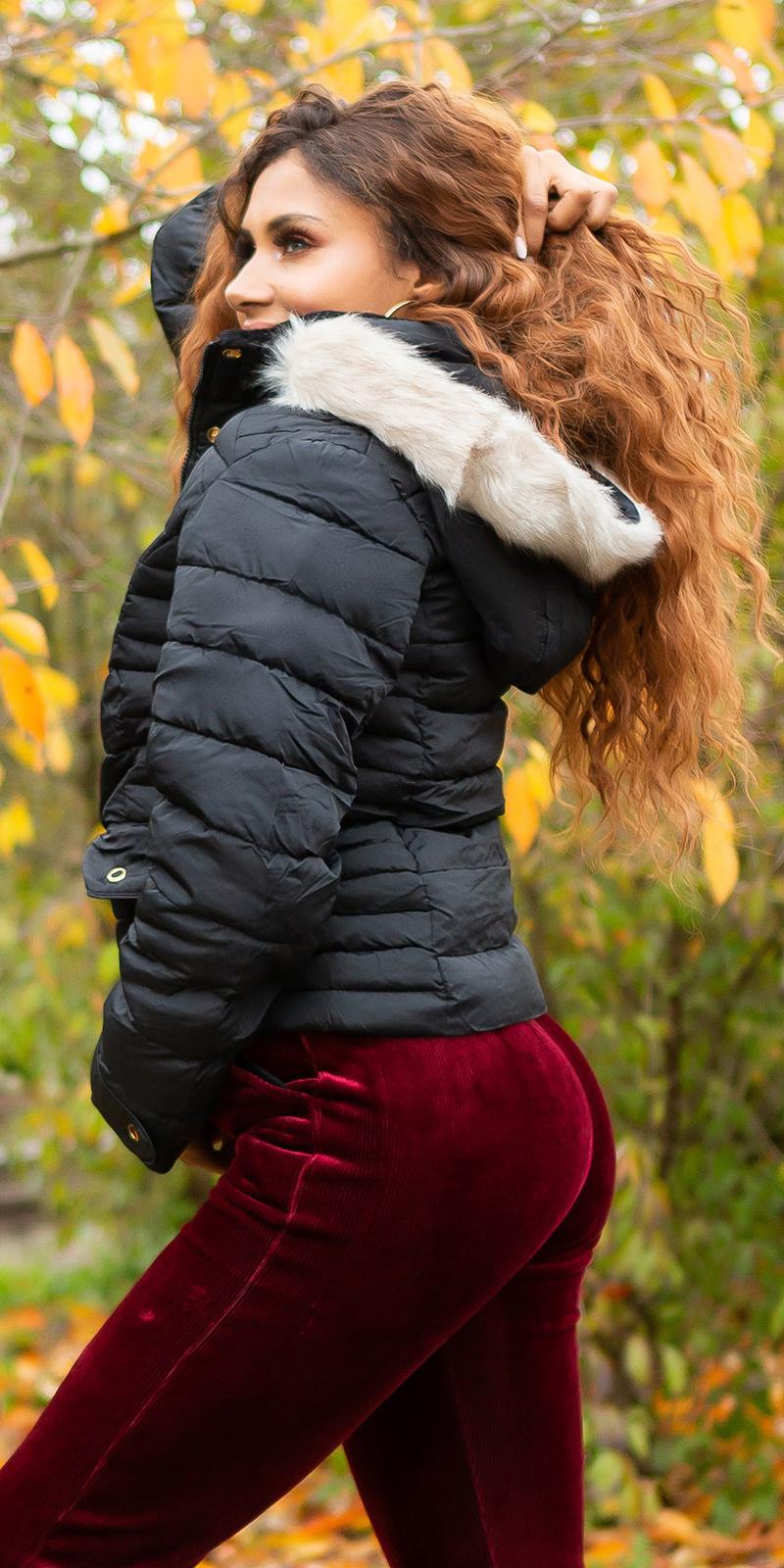 Trendy winterjas met capuchon zwart